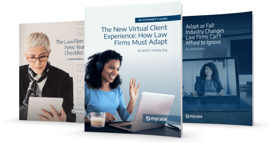 A screen shot of 3 MyCase Guides: The Law Firm New Year's Check List, The New Virtual Client Experience: How Law Firms Must Adapt, Adapt or Fail: Industry Changes Law Firms Can't Afford to Ignore.