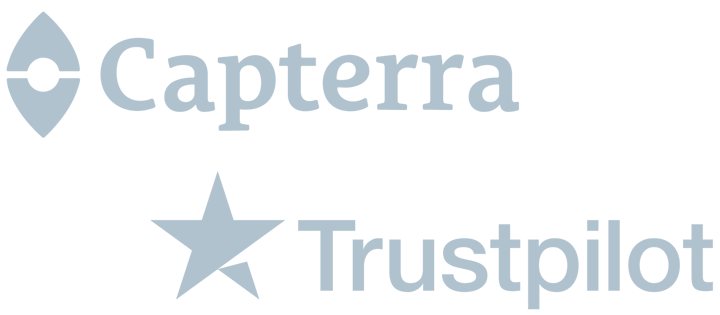 An image of the Capterra and Trust Pilot company logos.