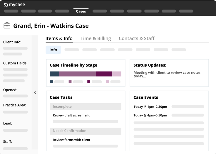 A screen shot of the MyCase Case Management dashboard tool.