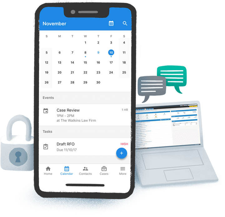 A smart phone which a calendaring app open, a laptop with the MyCase application on the screen, and a padlock and chat bubble icons.