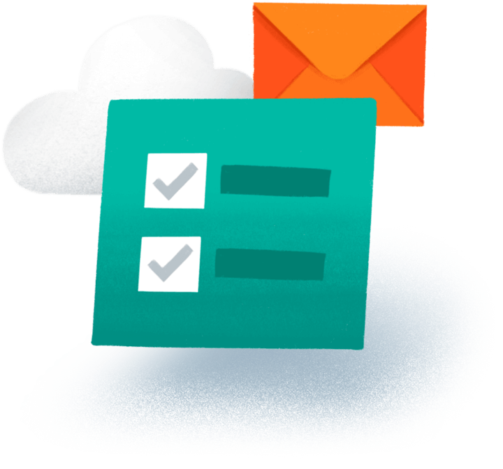 A checklist, cloud, and envelope icons.