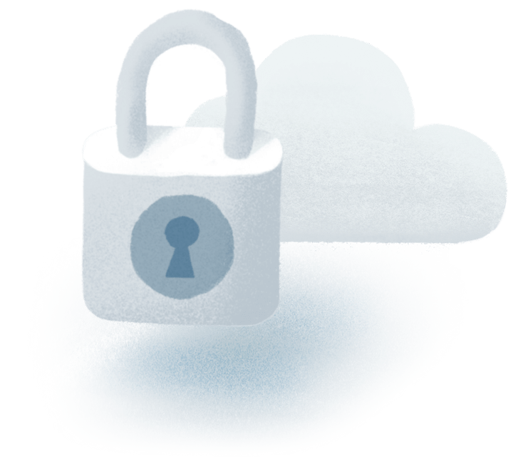 An image of a padlock in front of a cloud.