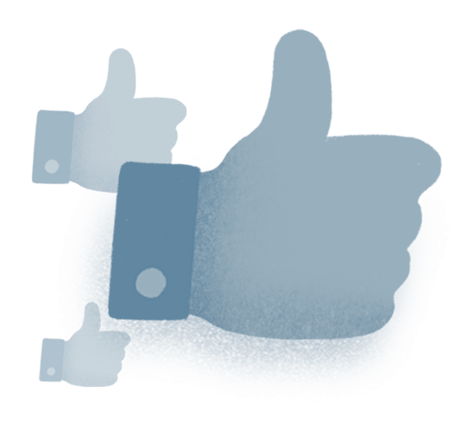 A thumbs up icon with two duplicate semitransparent versions of the same icon in the background.