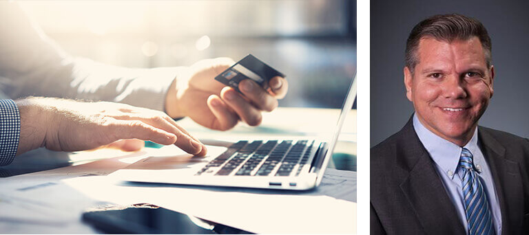 Hands holding a payment card & using a laptop & a separate image with a headshot of Bert Whitehead.