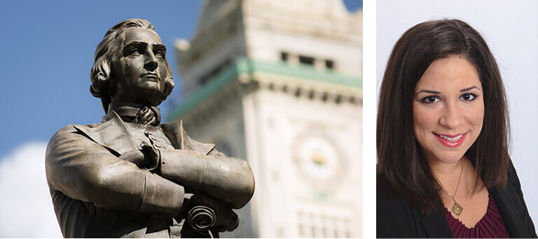 A picture of a statue of Samuel Adams, and of Amara Gordon.