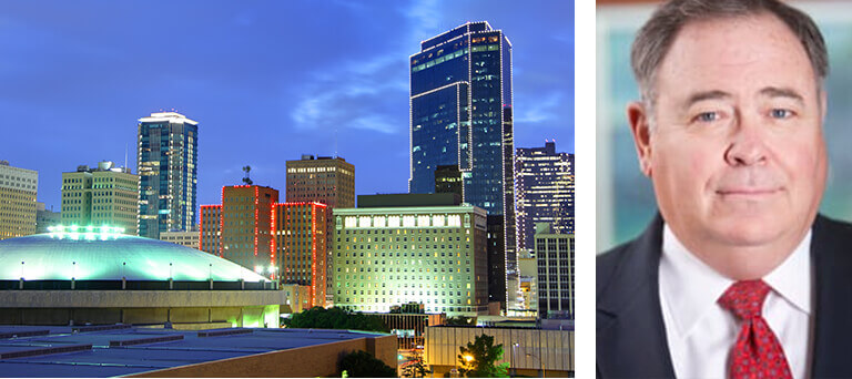Downtown Fort Worth, TX buildings that are lit up & a separate image with a headshot of Bob Leonard.