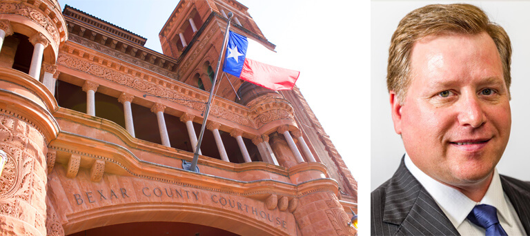 Bexar County Courthouse & Texas state flag & a separate image with a headshot of Daniel M. Schafer.