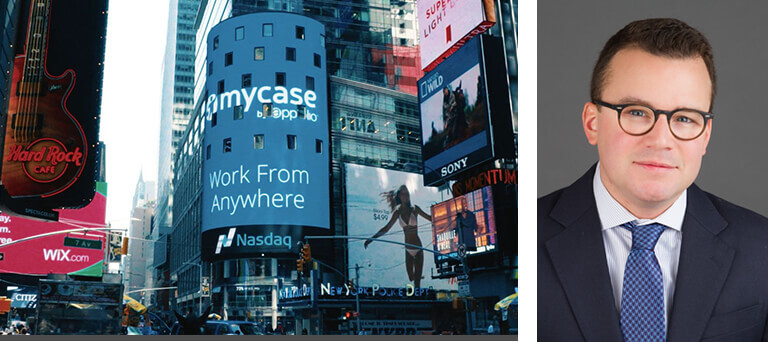 A picture of the Nasdaq screen in New York with MyCase displayed, and of Michael Hamersky.