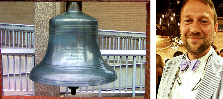 Silver bell with inscription outside a building & a separate image with a headshot of Jerry Hoffer.