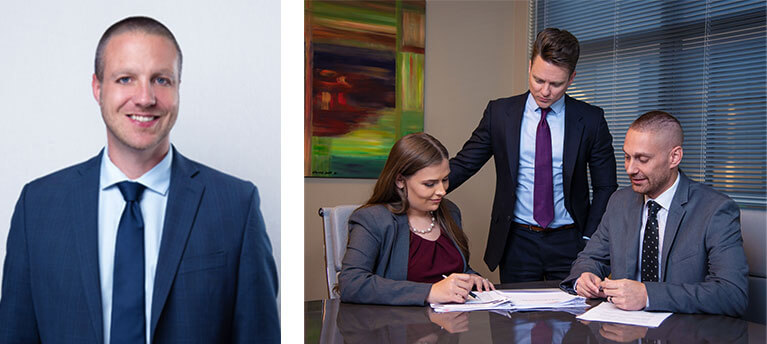 A headshot of Michael Burton of McFarling Law Group, and an image of 2 men and 1 woman representing law firm McFarling Law Group.