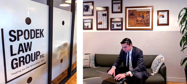 A glass and metal office wall of the law firm, Spodek Law Group P.C. & a separate image of a man sitting on an office couch and working on a laptop.