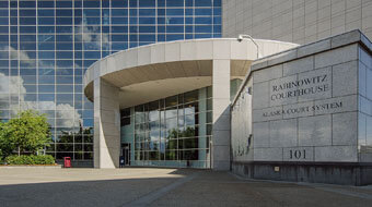 Exterior of Rabinowitz Courthouse, Alaska Court System, representing law firm Foster and Rogers LLC.
