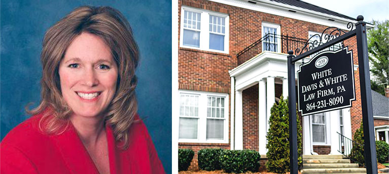 Woman's headshot and the business location, representing White Davis & White Law Firm, PA.